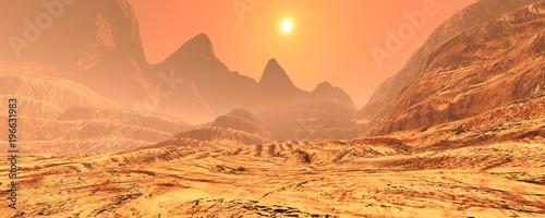 Deurstickers Koraal 3D Rendering Planet Mars Lanscape