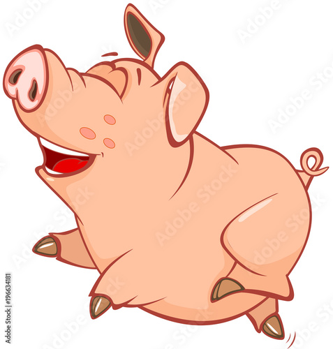 Tuinposter Babykamer Illustration of a Cute Pig. Cartoon Character