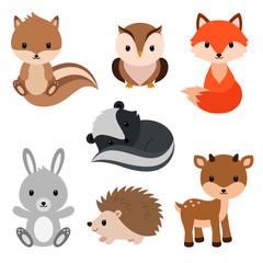 Woodland animals set.