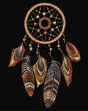 Embroidery tribal dream catcher boho native american indian talisman dreamcatcher. Fashionable template for design of clothes. Magic tribal feathers - 196643794