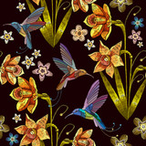 Humming bird and narcissus embroidery seamless pattern. Beautiful hummingbird and yellow narcissus embroidery on seamless background. Template for clothes, textiles, t-shirt design - 196644179