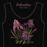 Beautiful spring purple irises against black background, embroidery template. Embroidery irises vector - 196644382