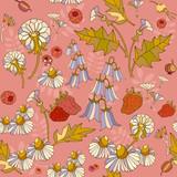 Floral spring seamless pattern, flowers, chamomile, campanul, raspberries. Hand drawn cute garden pattern - 196644745