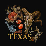 Embroidery bull skulls and guns, dice, Texas slogan. Casino concept. Wild west embroidery old revolvers, roses, bison skulls, gangster gothic Las Vegas art - 196644769