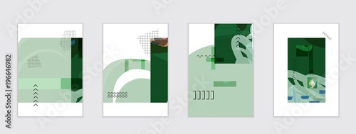 Poster Set of artistic abstract universal card templates