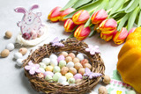 Easter decoration, Easter eggs and tulips.