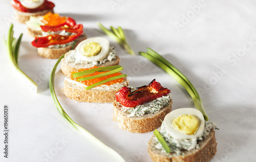 Wall mural Sandwiches,  sandwich with vegetables,  sandwich with red caviar,  egg sandwich, sandwich snack, various sandwiches