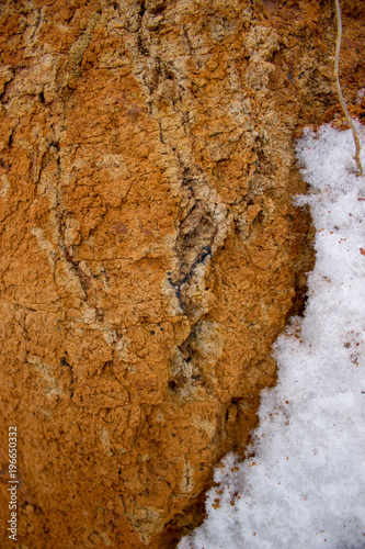 Poster Stenen Geode mineral in the clay with snow