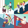 People With Gifts Isometric Concept