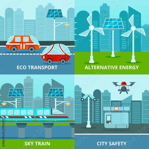 Foto op Canvas Lichtblauw Eco Urban Design Concept