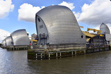 Thames Barrier in Normalstellung, Flutschutzwehr, geöffnet, Themse, London, Region London, England, Großbritanien - 196655395