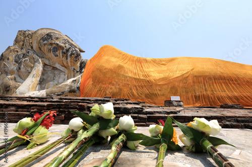 Aluminium Thailand The great reclining Buddha with a bright orange sash is all that remains of Wat Lokaya Sutha. Ayutthaya, Thailand