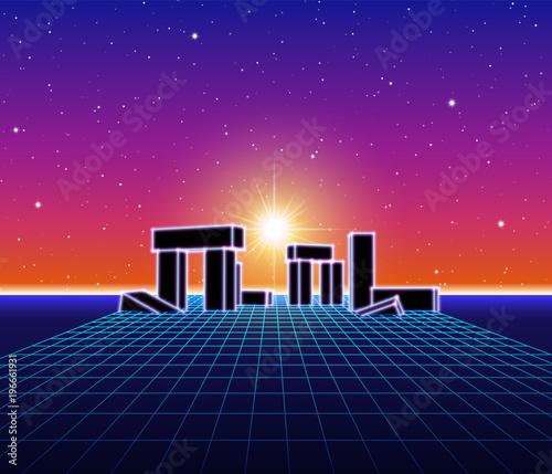 Foto op Canvas Violet Neon landscape with 80s retro wave game style