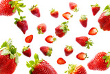 red strawberries isolated on a white background - 196664777