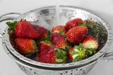 wash red ripe strawberries close up - 196665778