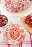 Beautiful Glazed Strawberry Bunt Cake