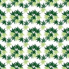 Seamless wallpaper with green leaves on a white background.
