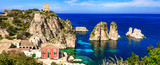 Summer holidays in Sicily - beautiful scenic beach Scopello with pictorial rocks. Italy