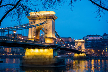 The Chain Bridge in Budapest, capital of Hungary, during the blue hour