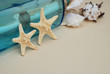 Quadro Nautical Theme Backdrop, Decorative Starfish on Neutral Ivory Background. Place for text. Selective focus.