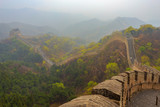 Misty and rainy morning on the Great Wall of China at Badaling - 196673922