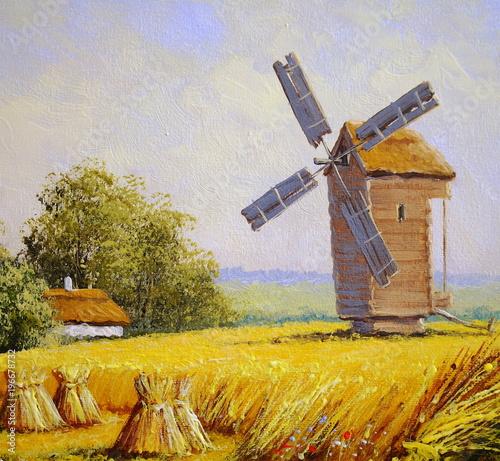 Oil paintings, fine art. Village. rural landscape