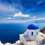 traditional blue dome with sea, Santorini - 196681397