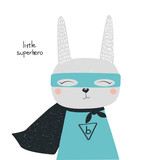 Cartoon bunny superhero with lettering. Vector hand drawn illustration. - 196683351