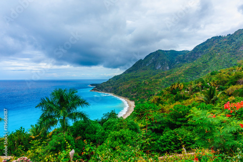 Fotobehang Groene picturesque natural wild landscape with rocky mountains overgrown dense green jungle tree, palm and clear azure water of sea ocean