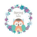 Owl and floral wreath illustration
