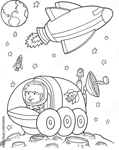 Foto Spatwand Cartoon draw Outer Space Vector Illustration Art