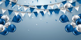 celebration background with garland flag,balloons and confetti in party and enjoyment concept.Vector eps10. - 196716367