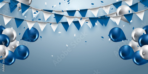 celebration background with garland flag,balloons and confetti in party and enjoyment concept.Vector eps10.
