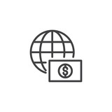 Globe with dollar money outline icon. linear style sign for mobile concept and web design. Worldwide money transfers simple line vector icon. Symbol, logo illustration. Pixel perfect vector graphics - 196719130