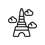 eiffel tower outlined vector icon
