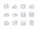 House Line Icon Vector / Home icon / Building  houses - Vector thin line icon - 196727327