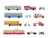 Set of urban transport. City cars, vehicles transport.