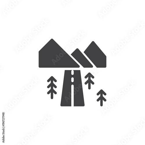 Papiers peints Blanc Landscape with highway vector icon. filled flat sign for mobile concept and web design. Country road with mountains and forest trees simple solid icon. Symbol, logo illustration.