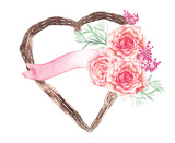 Vector heart plant and pink flower wedding decoration