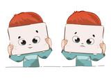 Expresiónes feliz y triste de un niño con una máscara - 196735973