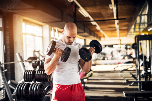 Close up portrait view of motivated and focused strong muscular active healthy young bald man doing biceps exercises with raising dumbbells and listening music in the sunny modern gym.