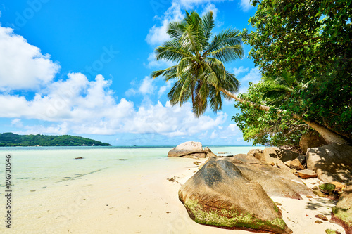 Anse a La Mouche - Paradise beach on tropical island Mahé in Sey