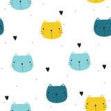 Funny seamless pattern with cartoon cat. Vector hand drawn illustration. - 196741963