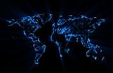 World map glowing blue polygon shape on black background