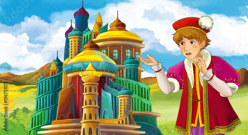 cartoon scene with young prince near medieval beautiful castle - illustration for children - 196751173