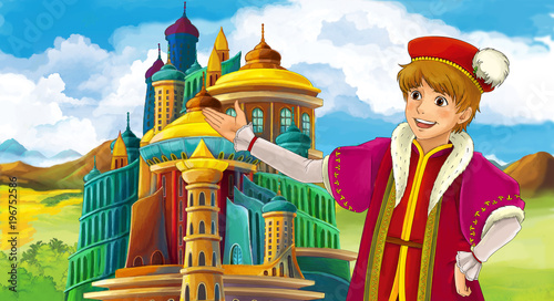 cartoon scene with young prince near medieval beautiful castle - illustration for children - 196752586