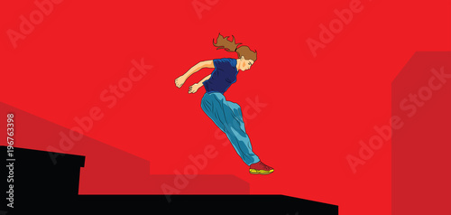 Papiers peints Pop Art Girl jumping. Parkour in the city