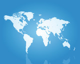 World map icy blue perspective