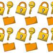 close padlock security and file folder background