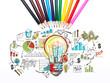 Colorful light bulb and business idea, pencils